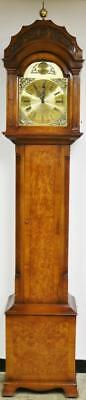Burr Walnut 8 Day 3 Weight Westminster Chime Musical Longcase Grandfather Clock