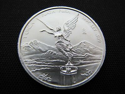 Key Date 1997 1 oz Uncirculated Mexican Silver Libertad 999 Coin (hairline)