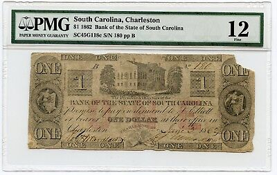 1862 $1 South Carolina, Charleston Obsolete Currency Note Fine 12 PMG
