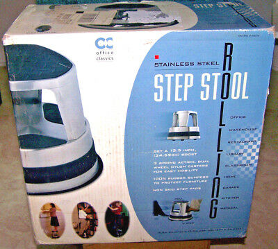 "Rolling Step Stool 13-1/2"" Stainless Steel Non Skid Rubber Bumper Wheels NEW"