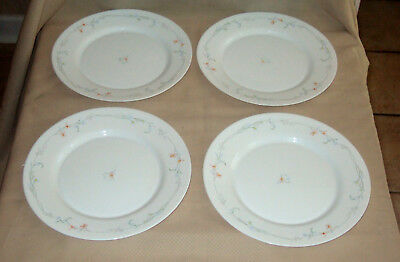 "Lot of 4 Arcopal France Odessa Dinner Plates 10.75""  Blue Pink Floral"