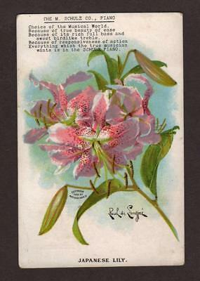 VINTAGE VICTORIAN ADVERTISING TRADE POSTCARD  1908 PAUL De LONGPRE JAPANESE LILY