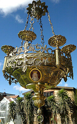 Antique Romanesque Church Sanctuary Lamp St Mary Chandelier Lantern Repoussé Wo'