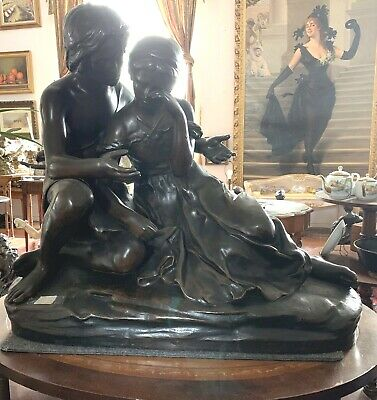 "Alexandra Falguiere French 19 Century A Young Couple Statue    "" Break-Up """