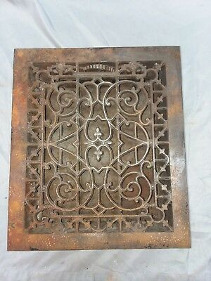 1 Antique Gothic Cast Iron Heat Grate Register Vent Old Vintage Hardware 91-18F