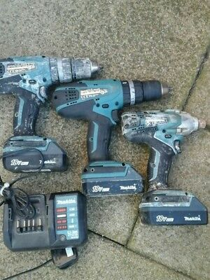 Makita impact driver TD127D and 2 drills HP457D 18v with charger + 3 batteries