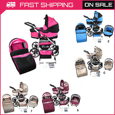 Baby Pram 3in1 Stroller Pushchair Car Seat Carrycot Travel System Buggy 24Colour