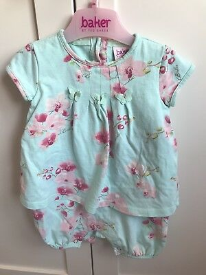 🦋Ted Baker Baby Girls Outfit Romper Floral Butterfly's  3-6 Months🌺