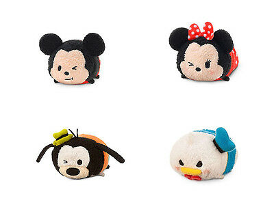 "Disney Tsum Tsum Set Mickey Minnie Donald Goofy 3.5"" Set of 4 Disney Store NEW"