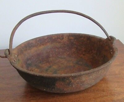 Antique/Vintage Cast Iron Scotch Bowl Hanging Hearth Footed  Pot