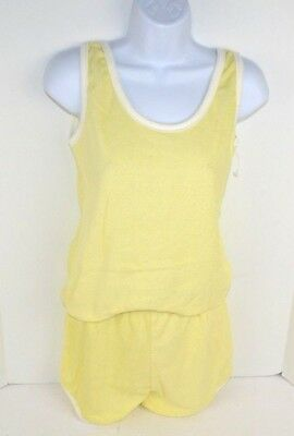 Vtg 1980's Vanderbilt 2pc Terry Cloth Tank Top & Shorts Set, Yellow Small NOS