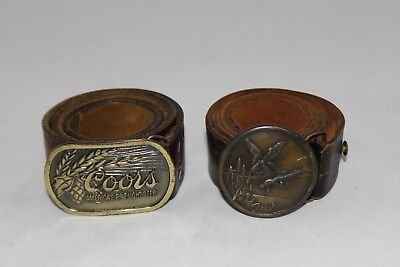 Lot (2) VINTAGE Brass Buckles COORS & Indiana Metal Craft Duck w/ Leather BELTS