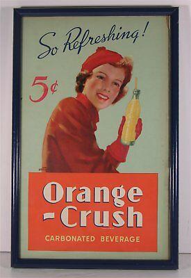 1940s ORANGE CRUSH SODA COLOR LITHO ADVERTISING SIGN WITH BEAUTIFUL YOUNG WOMAN