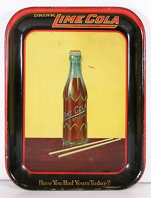 1910s LIME COLA SODA TIN LITHOGRAPH ADVERTISING SERVING TRAY TIN LITHO TRAY