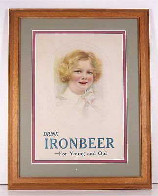 1920s IRONBEER SODA CHROMOLITHOGRAPH ADVERTISING SIGN W/ CHARMING CHILD PORTRAIT