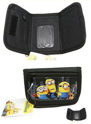NWT Despicable Me Minions Children Black Trifold Wallet 1 WALLET