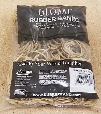 """Bulk rubber bands Size #32 (3"""" x 1/8"""") - 1 pounds bag - approx 700 rubber bands"""