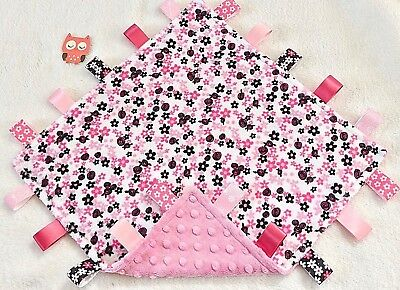 Double Minky! Roses and Daisies & Pink Minky Tag Taggie Security Blanket, Baby