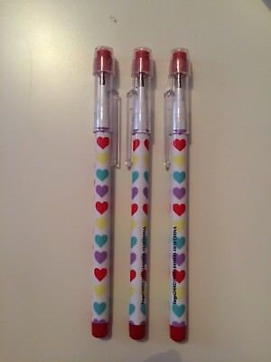 Set of 3 Push Point Pencils White with Hearts