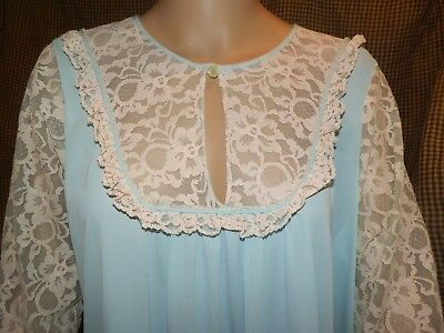 Vintage Mint Green Nylon Keyhole Puffy Lace Sleeves Nightgown Size 1X