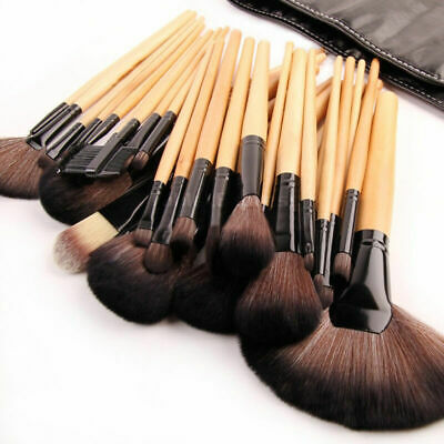 32pcs Soft Professional Cosmetic Eyebrow Shadow Makeup Brush Set Kit + Pouch Bag