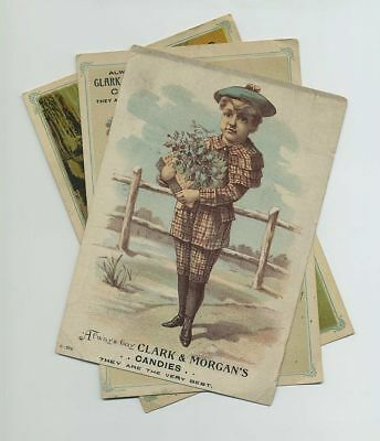 Lot 3 Clark & Morgan's Candy Trade Cards Quincy IL Oranges Lemons Bananas bv5999