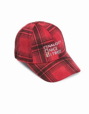 Collection 18 NEW Red Women's One US Size Plaid Naughty/Nice Baseball Cap #784