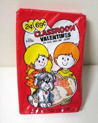 Vintage 1960s CLASSROOM VALENTINES MINT IN BOX UNUSED Box of 24