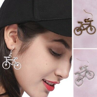 Vintage 1 Pair Antique Silver Lovely Bike Earring Drop Pendant Dangle Earrings