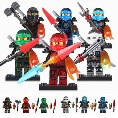 6 Sets Minifigures Flying Ninjago Ninja Figures KAI Lloyd JAY NYA COLE Blocks