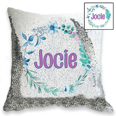 Personalised Flower Circle  Magic Sequin Cushion Cover, Gold or Silver Sequins