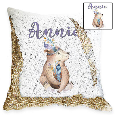 Personalised Cute Baby Bear Magic Sequin Cushion Cover, Gold, Silver Sequins
