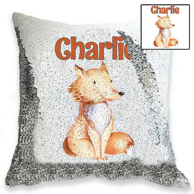 Personalised Cute Baby Fox Magic Sequin Cushion Cover, Gold, Silver Sequins
