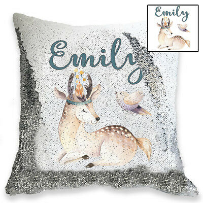 Personalised Cute Baby Deer Magic Sequin Cushion Cover, Gold, Silver Sequins
