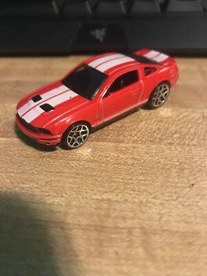 Hot Wheels 2007 Ford Shelby GT500 Mustang Red White Stripes HTF 1/64 Scale JC27