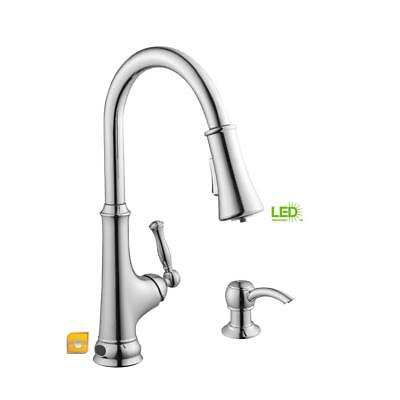 Touchless Single Handle Pull Down Sprayer Kitchen Faucet With Led Light Chrome