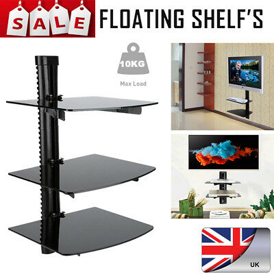 3Tier TV Wall Mount Bracket 3 Shelves Shelf For DVD Sky Box Game Console LED LCD