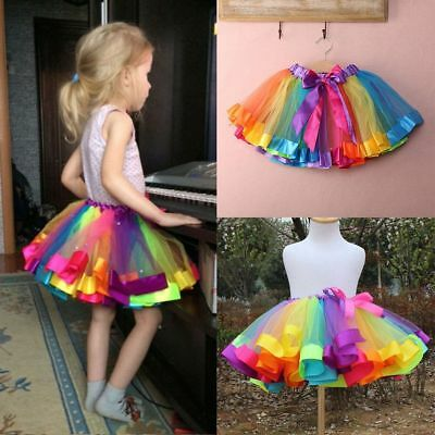 Kids Baby Girl Toddler Rainbow Princess Party Dancewear Tulle Tutu Skirt Dresses