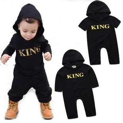 Baby Kids Boys Girls Hooded Romper Jumpsuit Cotton Bodysuit Clothes Outfit 0-24M