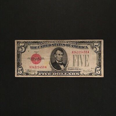 1928E $5 RED SEAL Five Dollars UNITED STATES NOTE, First Year Issued, Block H/A