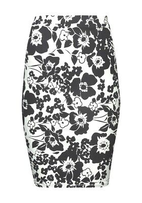 ladies new black and white floral skirt,stretch fit,split to back pencil skirt