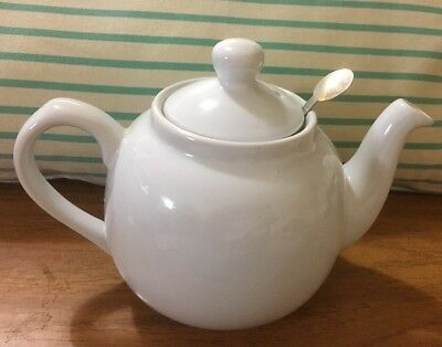 London Pottery Farmhouse Filter 2 Cup Teapot, White New No Box