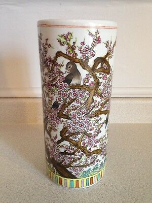 """Antique Very Colourful Hand Painted Transfer ware 11.5"""" Ceramic Cylinder Crock"""