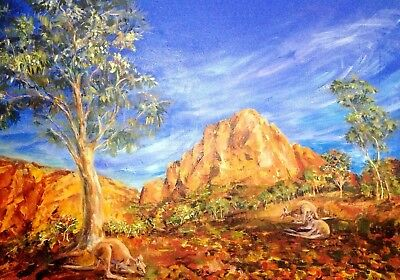 Greeting art card Australian artist Outback Landscape kangaroo Acrylic bright