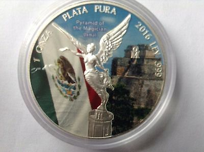 Libertad Pyramid of the Magician Uxmal Colorized Coin 2016 1 TROY OUNCE SILVER