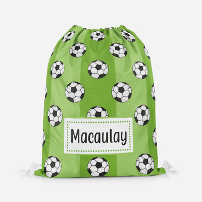 Personalised Football Pitch Kids Drawstring Bag PE Bag Swimming School Bag