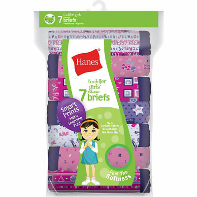 Hanes Tagless Toddler Girls Days of the Week Pre-Shrunk Cotton Briefs 7-Pack GTH