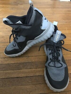 c36ad178074 ADIDAS Size 10 Tubular X Primeknit Mens Gray and Black Lace Up High Top  Sneakers