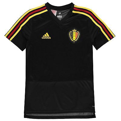 83d177c8b adidas Belgium Training Jersey Juniors Boys Black Football Soccer Top T- Shirt