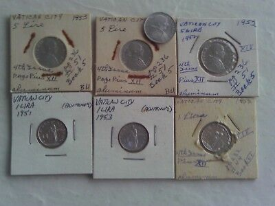 7 Vatican City Group Lot 1951 1952 1953 2 Each 1 & 5 Lire Plus Extra Pope Coin